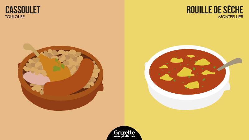 Toulouse vs Montpellier - cassoulet vs rouille de sèche